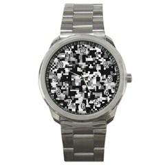 Noise Texture Graphics Generated Sport Metal Watch