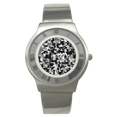 Noise Texture Graphics Generated Stainless Steel Watch
