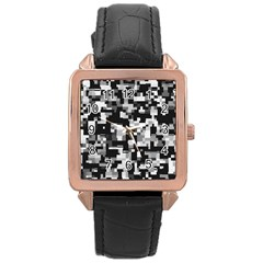 Noise Texture Graphics Generated Rose Gold Leather Watch