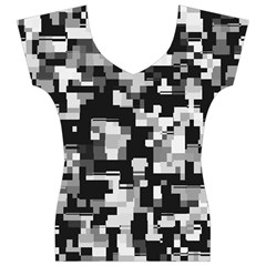 Noise Texture Graphics Generated Women s V-Neck Cap Sleeve Top