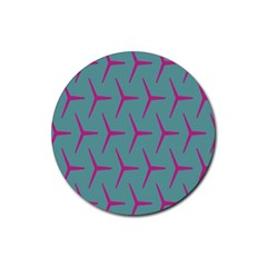 Pattern Background Structure Pink Rubber Coaster (round)