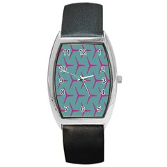 Pattern Background Structure Pink Barrel Style Metal Watch