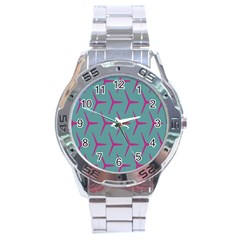 Pattern Background Structure Pink Stainless Steel Analogue Watch