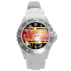 Pattern Vectors Illustration Round Plastic Sport Watch (L)