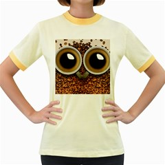 Owl Coffee Art Women s Fitted Ringer T-Shirts