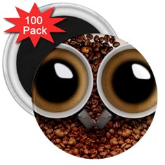 Owl Coffee Art 3  Magnets (100 pack)