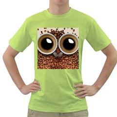 Owl Coffee Art Green T Shirt