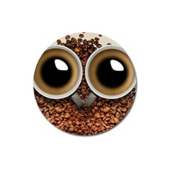 Owl Coffee Art Magnet 3  (round)