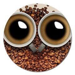 Owl Coffee Art Magnet 5  (round)