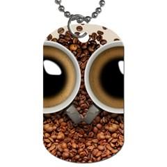 Owl Coffee Art Dog Tag (One Side)
