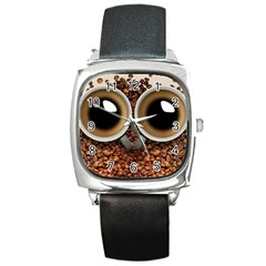 Owl Coffee Art Square Metal Watch