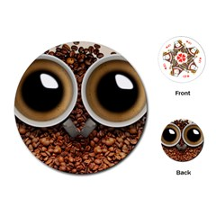 Owl Coffee Art Playing Cards (Round)