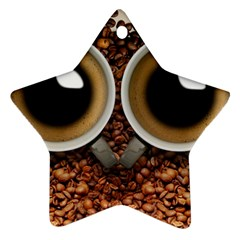 Owl Coffee Art Star Ornament (Two Sides)
