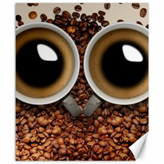 Owl Coffee Art Canvas 8  x 10