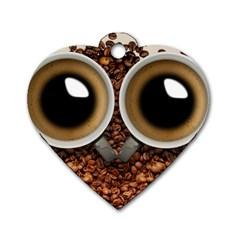 Owl Coffee Art Dog Tag Heart (One Side)