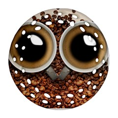 Owl Coffee Art Round Filigree Ornament (Two Sides)