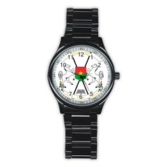 Coat Of Arms Of Burkina Faso Stainless Steel Round Watch