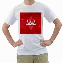 Red Bokeh Christmas Background Men s T-Shirt (White) (Two Sided)
