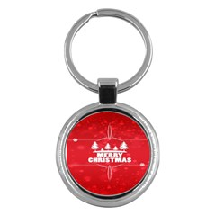 Red Bokeh Christmas Background Key Chains (Round)