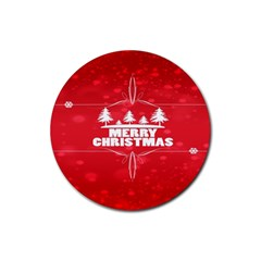 Red Bokeh Christmas Background Rubber Round Coaster (4 pack)