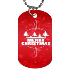Red Bokeh Christmas Background Dog Tag (One Side)