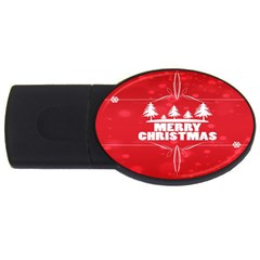 Red Bokeh Christmas Background USB Flash Drive Oval (2 GB)