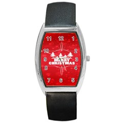 Red Bokeh Christmas Background Barrel Style Metal Watch