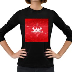 Red Bokeh Christmas Background Women s Long Sleeve Dark T-Shirts
