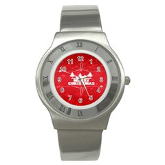 Red Bokeh Christmas Background Stainless Steel Watch