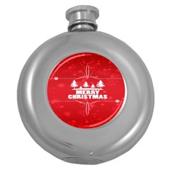 Red Bokeh Christmas Background Round Hip Flask (5 oz)