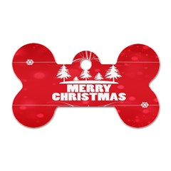 Red Bokeh Christmas Background Dog Tag Bone (One Side)