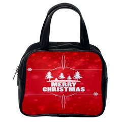 Red Bokeh Christmas Background Classic Handbags (One Side)