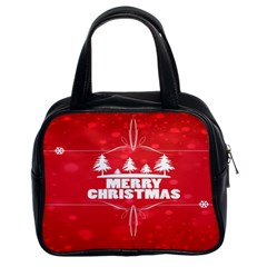 Red Bokeh Christmas Background Classic Handbags (2 Sides)