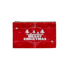 Red Bokeh Christmas Background Cosmetic Bag (Small)
