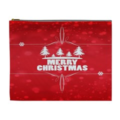 Red Bokeh Christmas Background Cosmetic Bag (XL)
