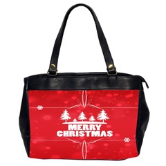 Red Bokeh Christmas Background Office Handbags (2 Sides)