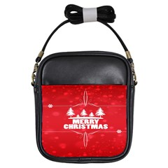 Red Bokeh Christmas Background Girls Sling Bags