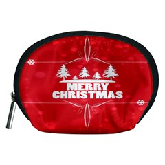 Red Bokeh Christmas Background Accessory Pouches (Medium)