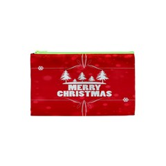 Red Bokeh Christmas Background Cosmetic Bag (XS)