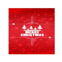 Red Bokeh Christmas Background Small Satin Scarf (Square)