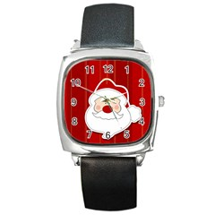 Santa Claus Xmas Christmas Square Metal Watch