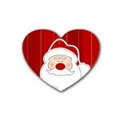 Santa Claus Xmas Christmas Rubber Coaster (Heart)