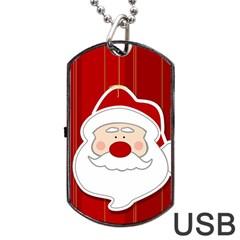 Santa Claus Xmas Christmas Dog Tag USB Flash (One Side)