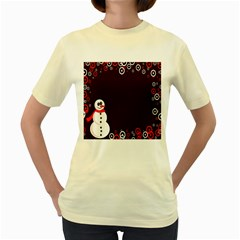 Snowman Holidays, Occasions, Christmas Women s Yellow T-Shirt