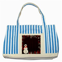 Snowman Holidays, Occasions, Christmas Striped Blue Tote Bag