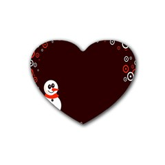 Snowman Holidays, Occasions, Christmas Rubber Coaster (Heart)
