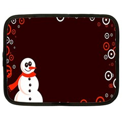 Snowman Holidays, Occasions, Christmas Netbook Case (Large)