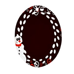 Snowman Holidays, Occasions, Christmas Oval Filigree Ornament (Two Sides)