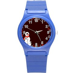 Snowman Holidays, Occasions, Christmas Round Plastic Sport Watch (S)