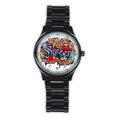 Graffiti Word Characters Composition Decorative Urban World Youth Street Life Art Spraycan Drippy Bl Stainless Steel Round Watch